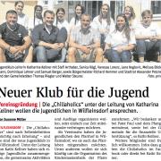 "STR Alexander Petznek, GR Walter Steurer begrüßen den neuen Jugendklub ""Chillaholics"" in Wilfleinsdorf."
