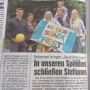 Kinderstadtfest 2016 Ankündigung in Kronen Zeitung mit Alexander Petznek, Maria Lager, Marlene Jüly, Lisa Jahner.