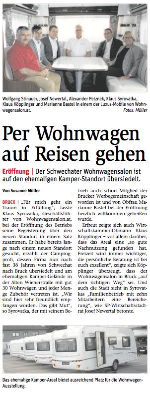 STR Alexander Petznek wünscht dem Wohnwagensalon für den neuen Standort Bruck alles Gute.