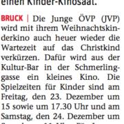 Die JVP lädt zum Kinder-Weihnachtskino ein.