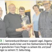 Seniorenbund-Obmann Leopold Legel gratulierte den Jubilaren.